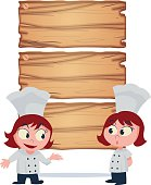 girl chef offers food menu vector illustration