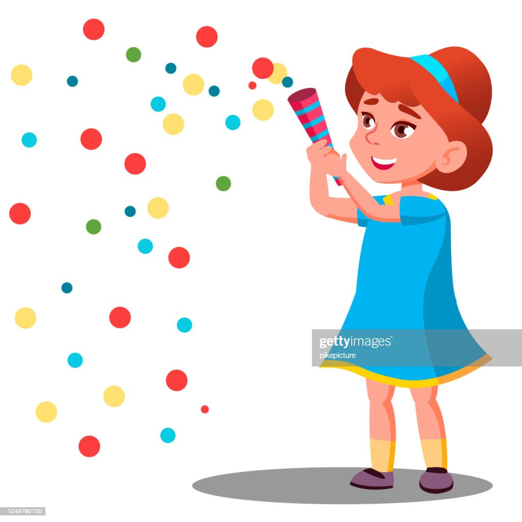 Girl Child Throw Colored Confetti At The Carnival Party Vector. Isolated Illustration