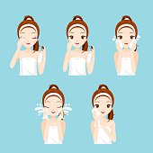 Girl Cleaning And Care Her Face With Various Actions Set