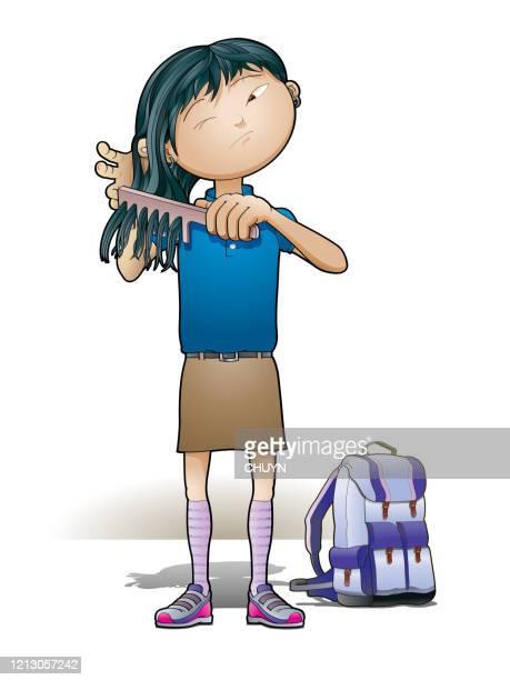 girl combing hair - naughty america stock illustrations