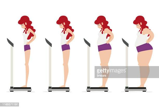 girl controlling her weight and diet - weights stock illustrations