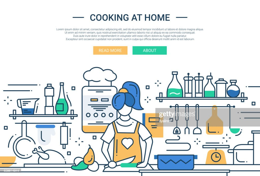 Girl cooking at home - line design website banner