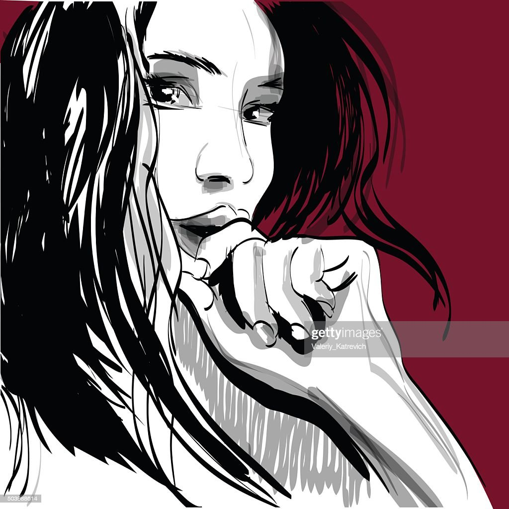 Girl crying woman face. Human emotions. Vector illustration