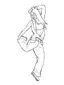 Girl dancing brake dance