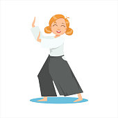 Girl Doing Meditative Tai Chi Exercise In Wide Trousers On Karate Martial Art Sports Training Cute Smiling Cartoon Character