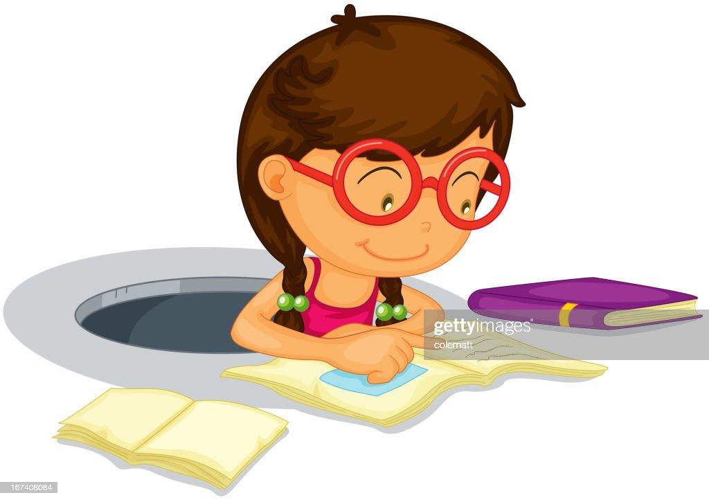 Girl doing schoolwork : Vector Art
