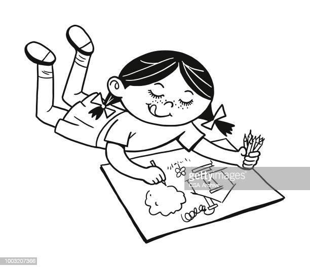 mädchen zeichnen ein bild - künstlerischer beruf stock-grafiken, -clipart, -cartoons und -symbole