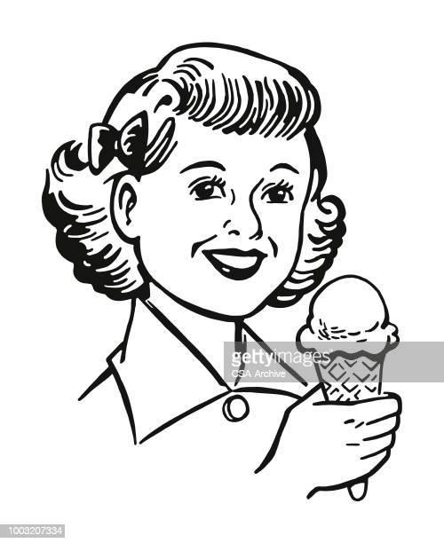girl eating ice cream - eating ice cream stock illustrations, clip art, cartoons, & icons