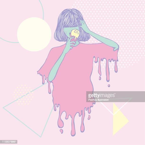 Ein Mädchen isst Eis mit Sprinkles Vektorabbildung