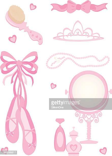 ilustraciones, imágenes clip art, dibujos animados e iconos de stock de girl elementos - zapatilla de ballet