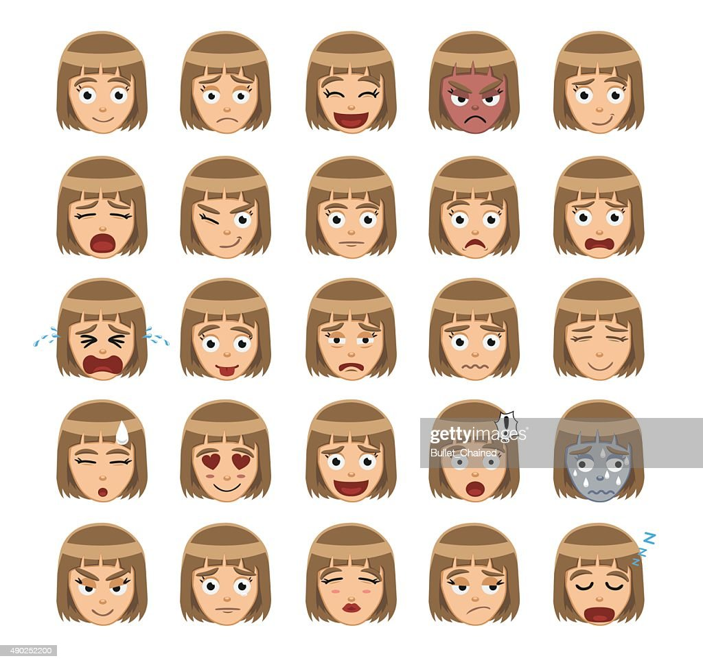 Girl Emotion Faces Cartoon Vector Illustration 1