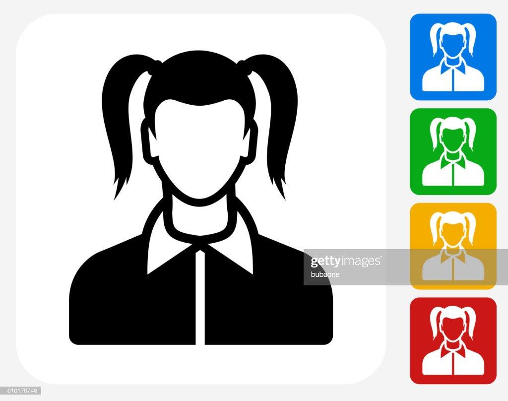 Girl Face Icon Flat Graphic Design : stock illustration