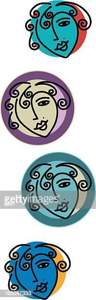 ilustrações, clipart, desenhos animados e ícones de garota rostos - sobrancelha