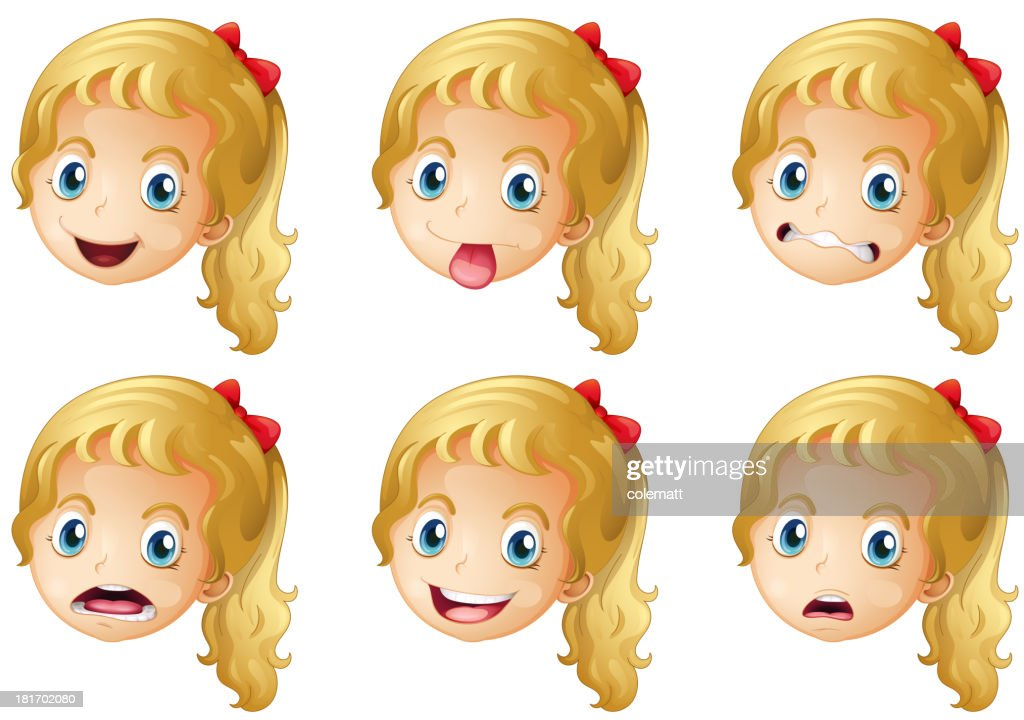 Girl faces with various expressions