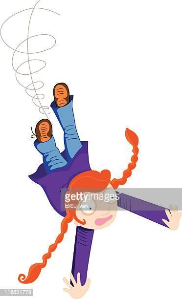 girl falling - braided hair stock illustrations, clip art, cartoons, & icons