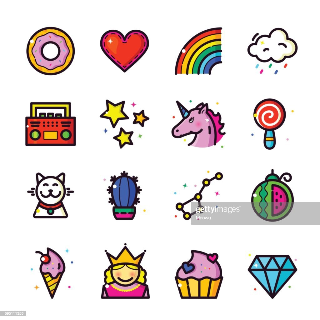 Girl Fashion Patch icons set, vector illustration