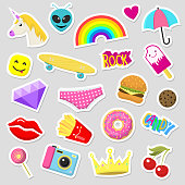 Girl fashion stickers patches cute colorful badges fun cartoon icons design doodle element trendy print vector illustration