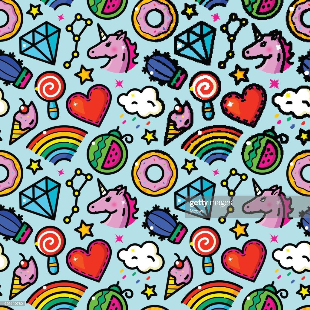 Girl Fashion vector seamless pattern