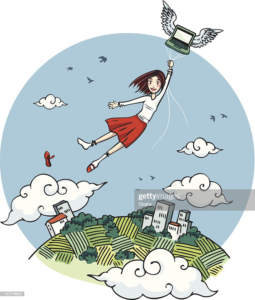Girl flying carried by laptop