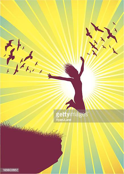 Girl Flying With Birds and Sun Beams