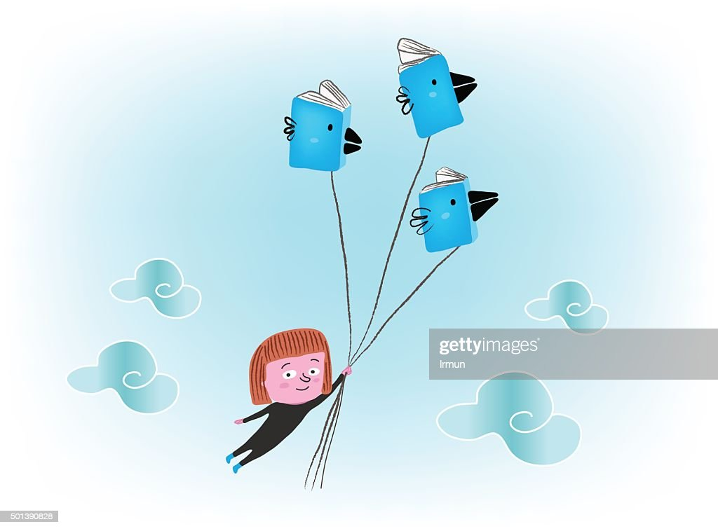 Girl flying with books, vector illustration