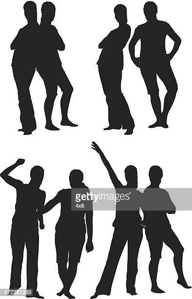 Fille amis posant ensemble de silhouettes