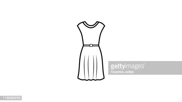 girl frock icon line art - dress stock illustrations