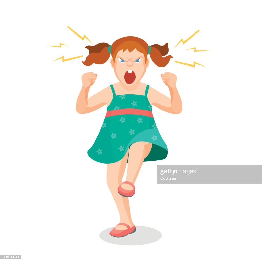 Girl full of anger is shouting something with aggression