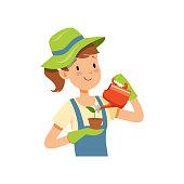 Girl gardener character, girl watering a plant vector Illustration