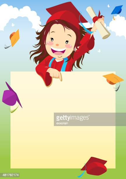 Girl graduate pointing at signboard