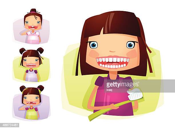 Mädchen wachsenden putzen