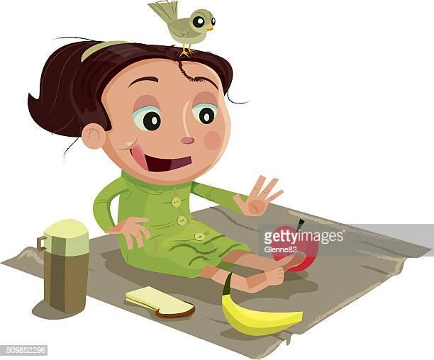 girl having a picnic/making healthy choices - picnic blanket stock illustrations, clip art, cartoons, & icons