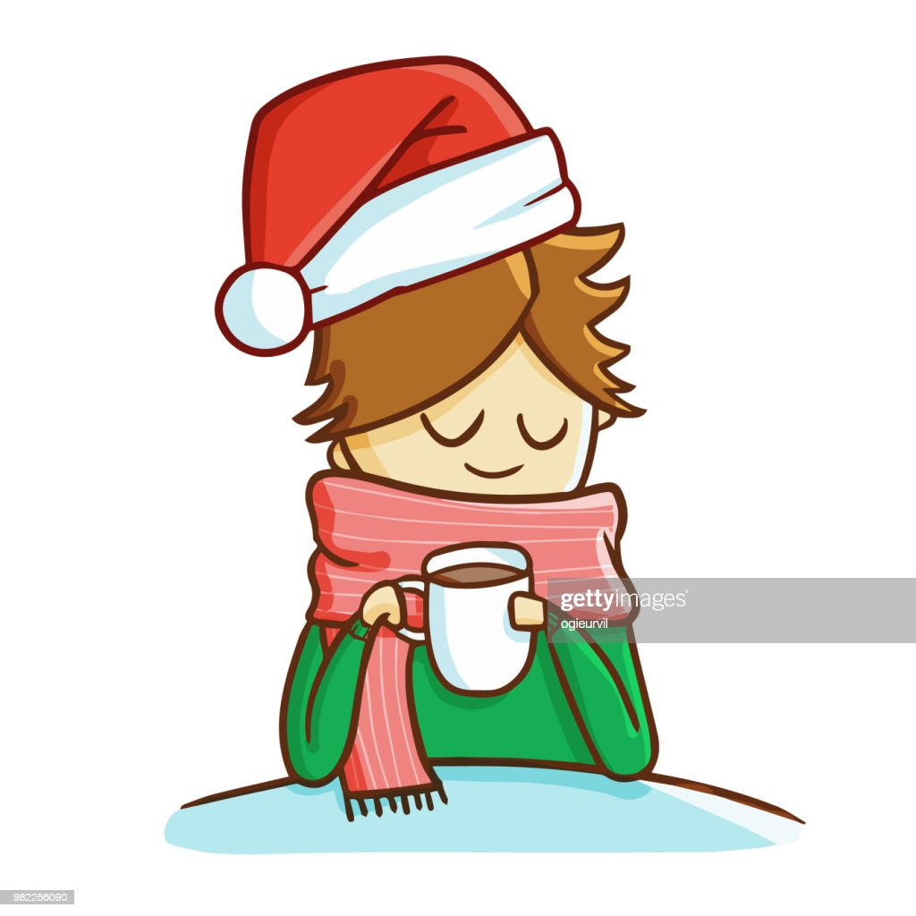 girl holding a cup wearing Santa's hat