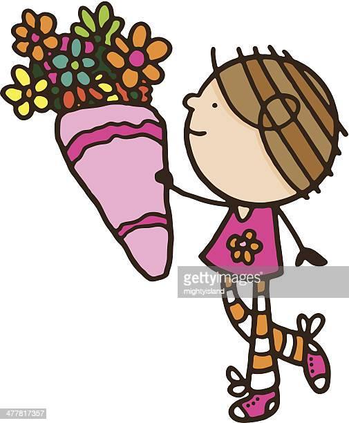 Mädchen hält eine große Auswahl an Blumen