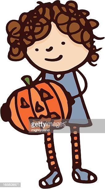 ilustrações, clipart, desenhos animados e ícones de garota segurando uma abóbora - cartoon characters with curly hair