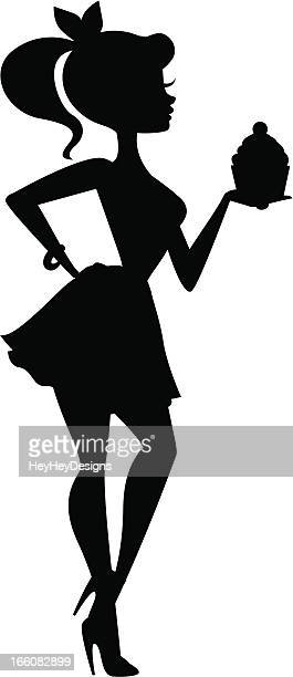 girl holding cupcake silhouette - making a cake stock illustrations, clip art, cartoons, & icons
