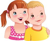 Girl hug a boy - cute children smiling
