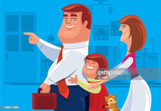 girl hugging dad - kids hugging mom cartoon stock illustrations