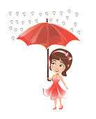 Girl in a beautiful dress standing under an umbrella. Vector illustration.