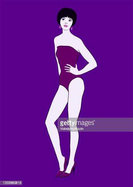 girl in a closed pink swimsuit with a short haircut in model shoes - purple shoe stock illustrations