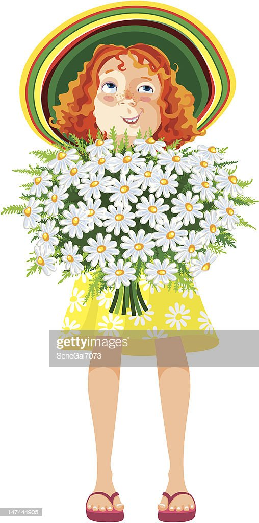 girl in a hat with bouquet