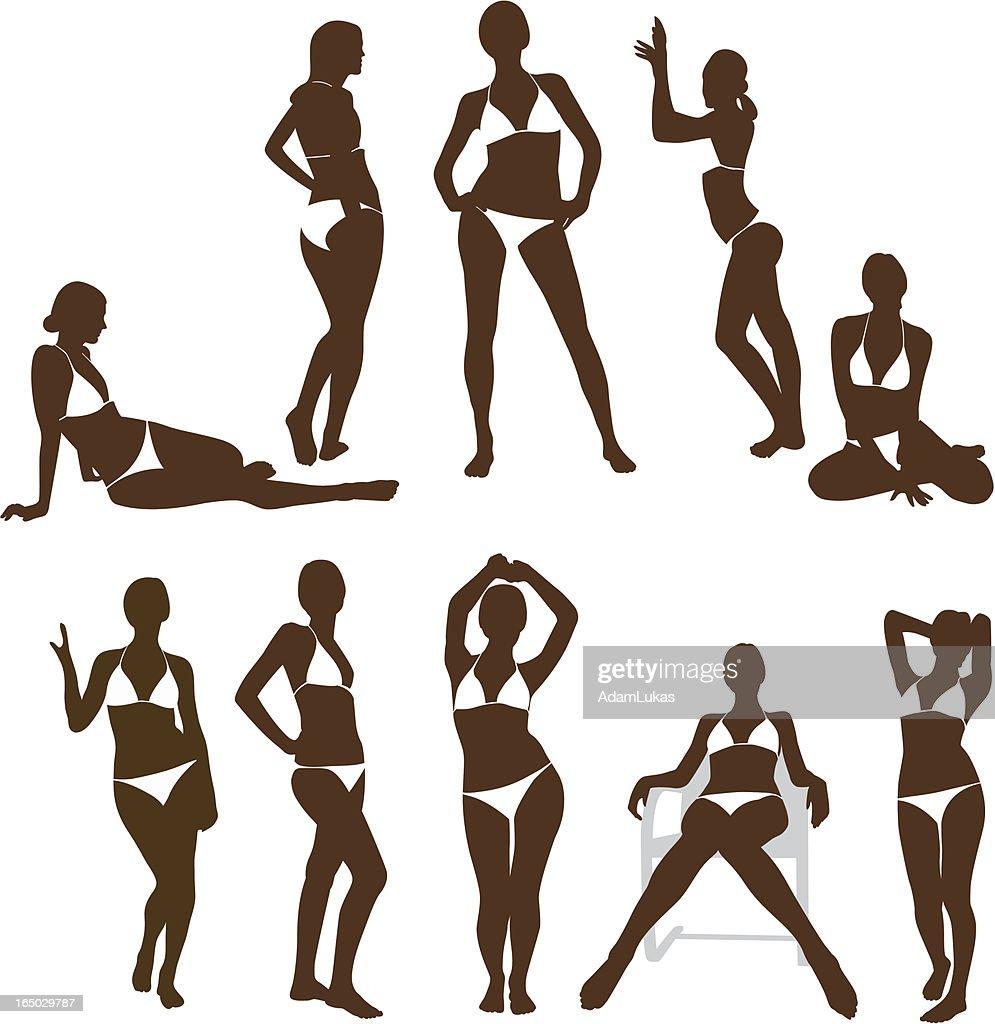 Girl in bikini silhouettes