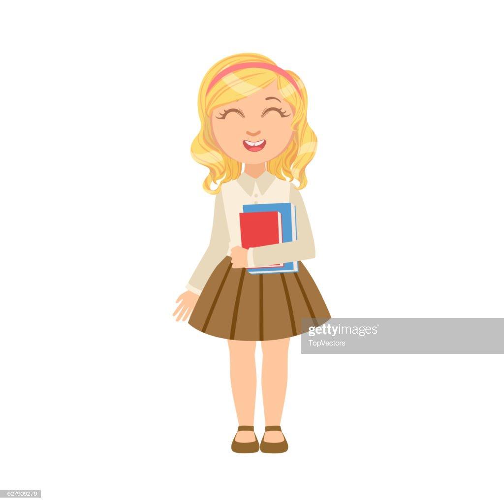 Girl In Brown Skirt Holding Books Happy Schoolkid In School