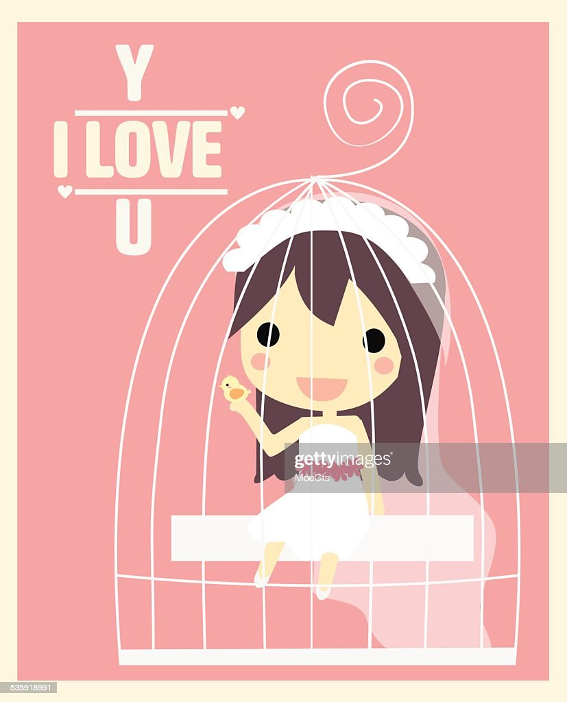 girl in cage valentine's card : Vector Art