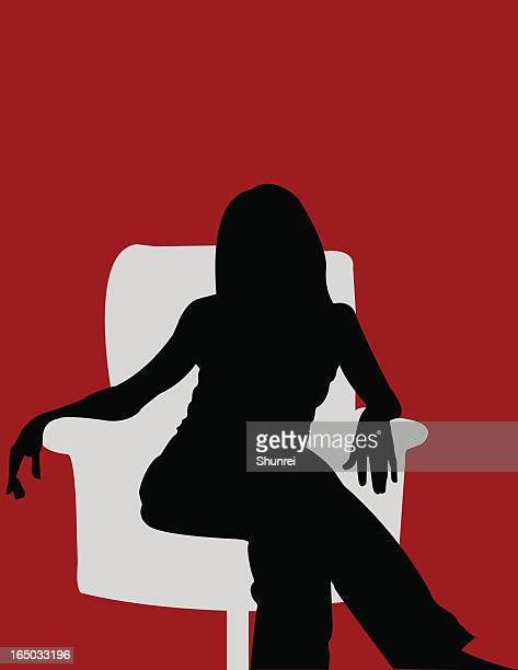 girl in chair - flare stack stock illustrations, clip art, cartoons, & icons