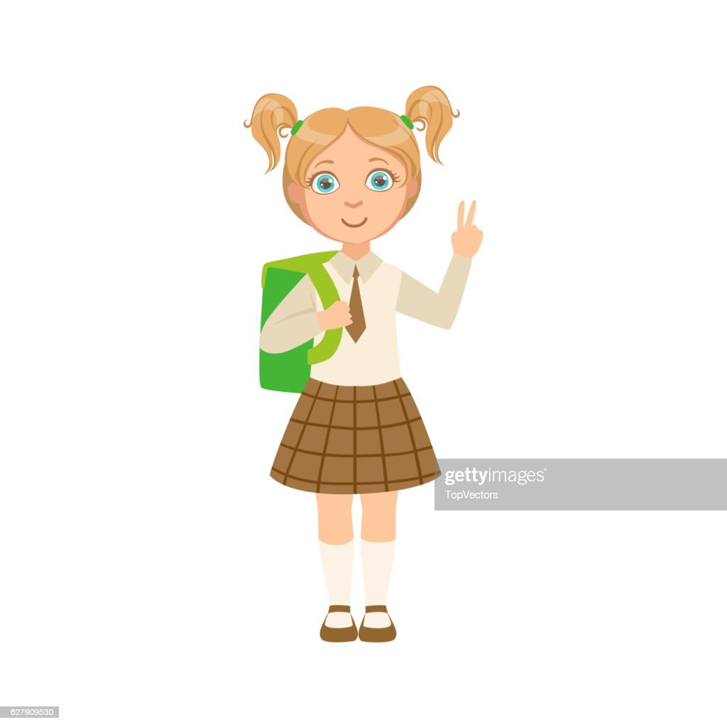 Girl In Chekered Skirt With Tie Happy Schoolkid In School