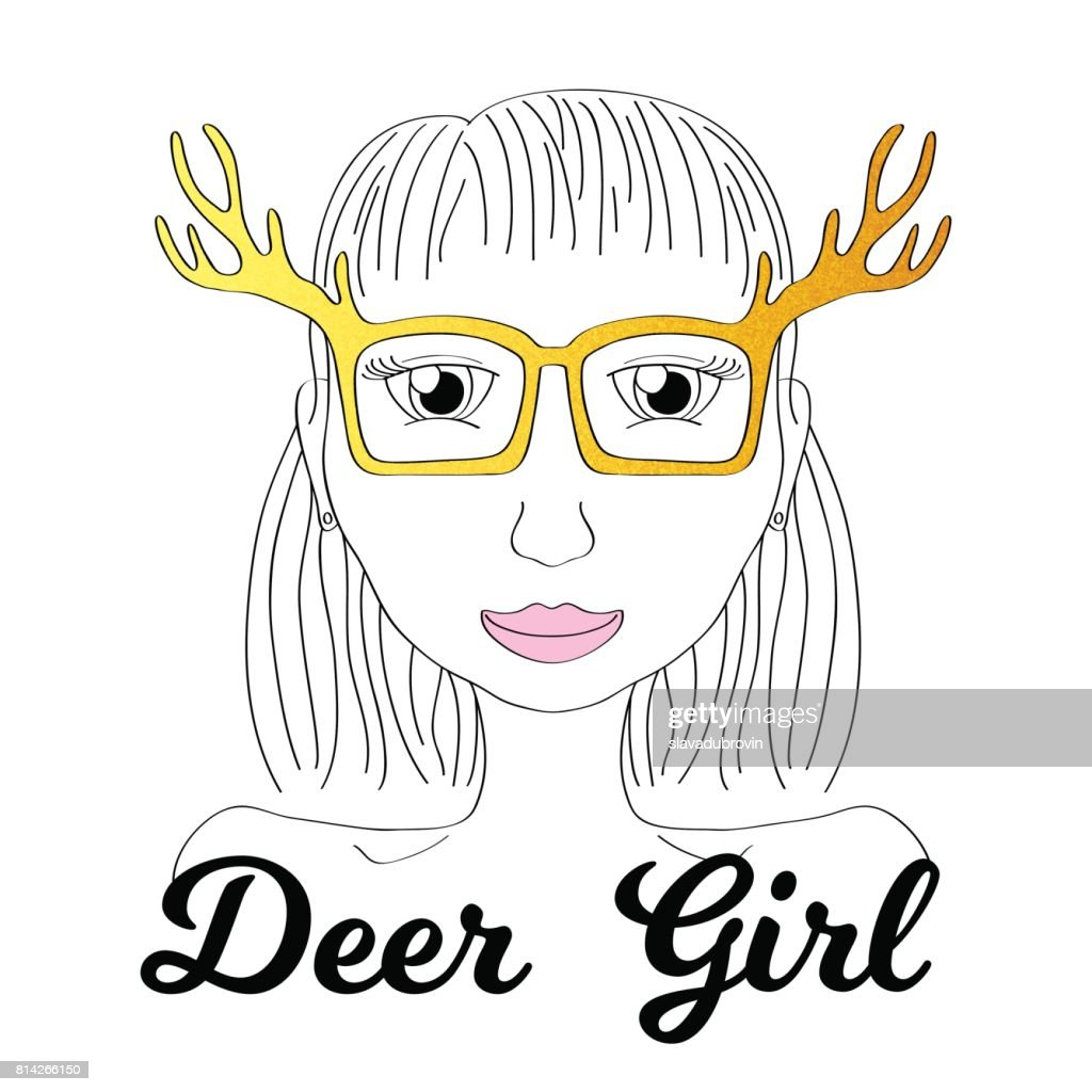 Girl in deer horn glasses. Boho style fashionista girl print. Deerhorn thin line vector illustration.