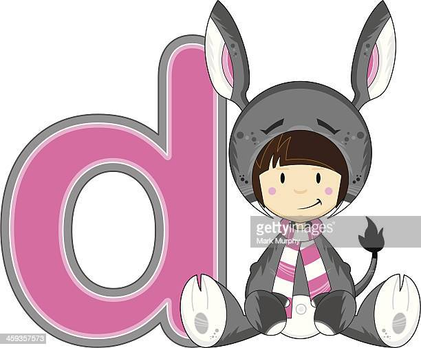 girl in donkey costume learning illustration - letter d stock illustrations, clip art, cartoons, & icons