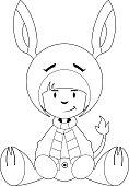 Girl in Donkey Costume Outline