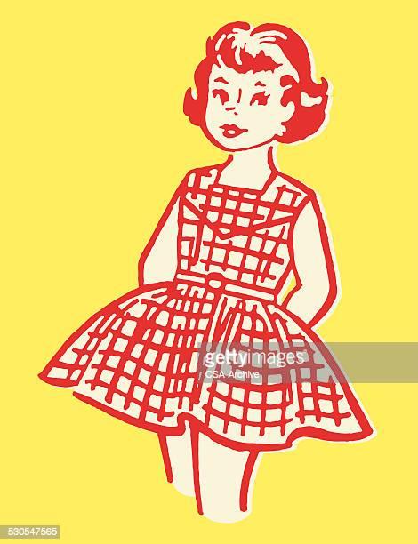 girl in dress - social grace stock illustrations, clip art, cartoons, & icons